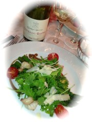 Gabrielle Meffre Rhone Blanc with superb arugula and asparagus salad