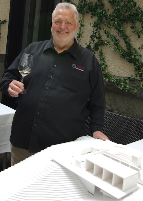 Time Estate Winery founder  Harry McWatters with architect's model, Tim Pawsey photo