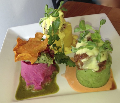 A trio of Causa, creatively contrived, unlikely—and delicious—whipped potato variatiations