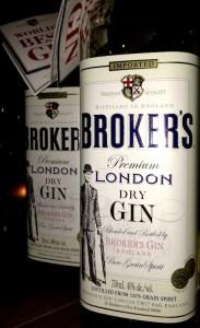 Broker's London Dry Gin bottles