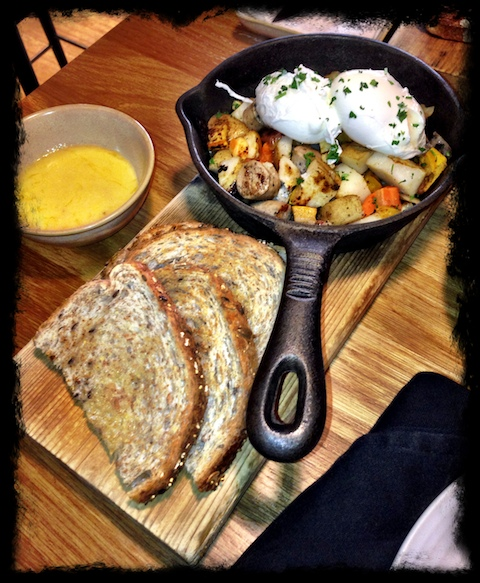 forage Two Rivers turkey sausage hash - roasted vegetables, free-range eggs, mustard hollandaise, toast  - It's a keeper!