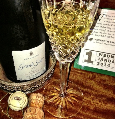 de Sacy Grand Soir Champagne and Waterford flute