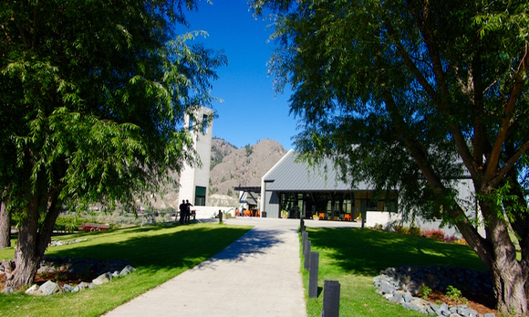 The impressive approach to Monte Creek Ranch winery, east of Kamloops