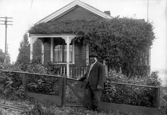 Joseph Seraphim Fortes in front of his cottage on Bidwell street, across from English Bay. (Vancouver archives photo)