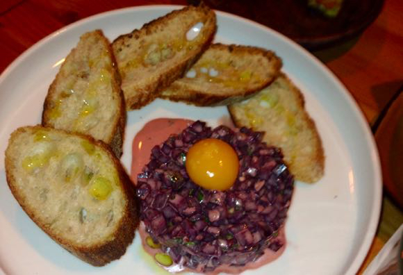 Beet tartar with quail egg