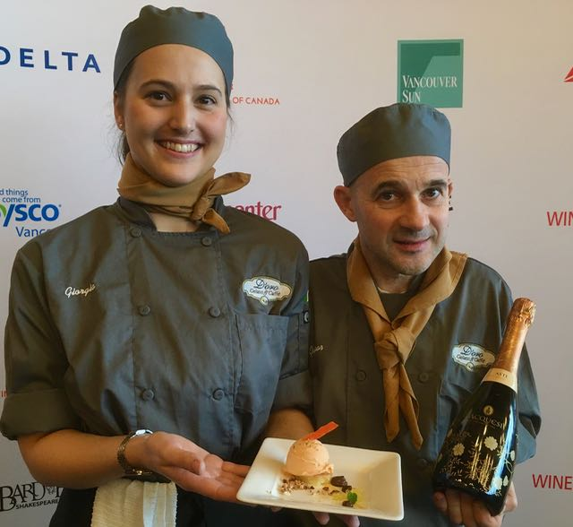 Vintners Brunch food and wine pairing winners, D'Oro Gelato's Giorgia Zanone and Gaspar Jovino Brites