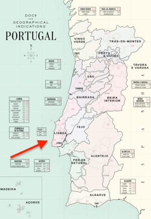Lisboa on wine map Portugal