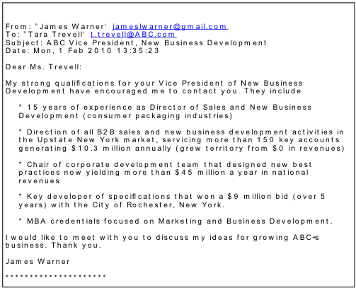 sample of email cover letters
