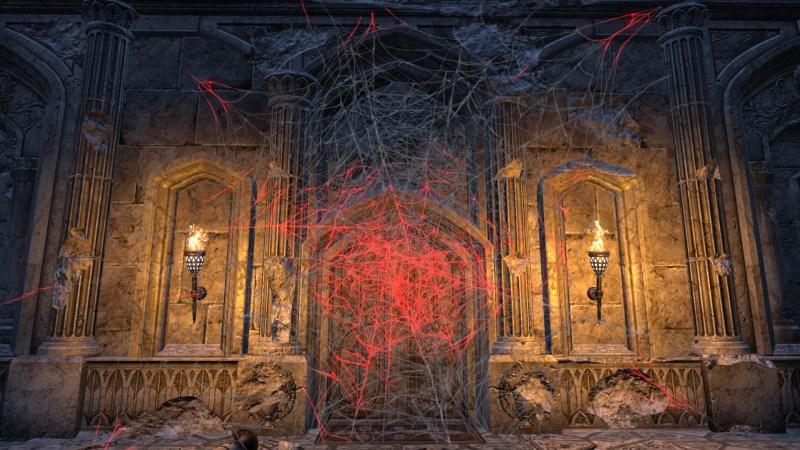 Strange red webs blocking my path