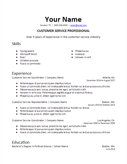 Specific Industry Skills Resume Template