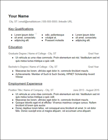 3 Column Skills College Education No Experience Resume