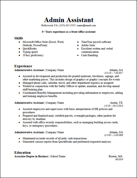 admin_assistant_resume_template_bold_professional_summary