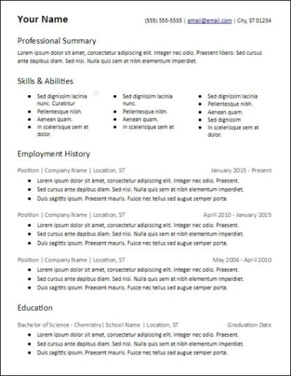 3 Column Skills Based Microsoft Word Resume Template Description
