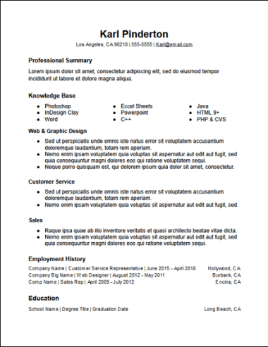 Functional Skills Resume Template