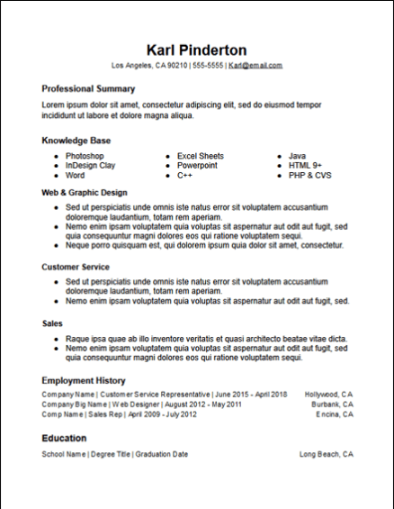 3 Column Skills Functional Resume Template