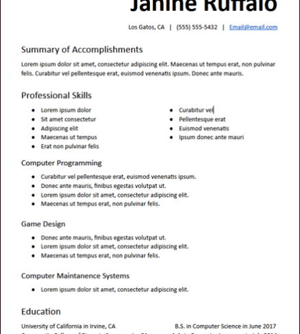 College Functional Skills Based Resume Template
