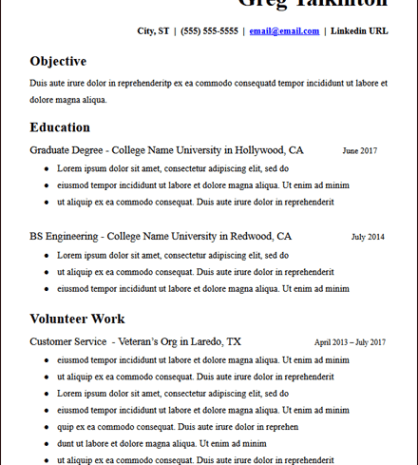 College Student No Experience Resume Description