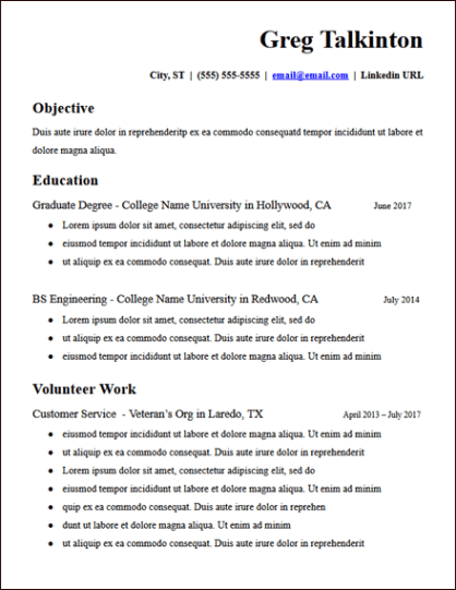 College Student No Experience Resume Template