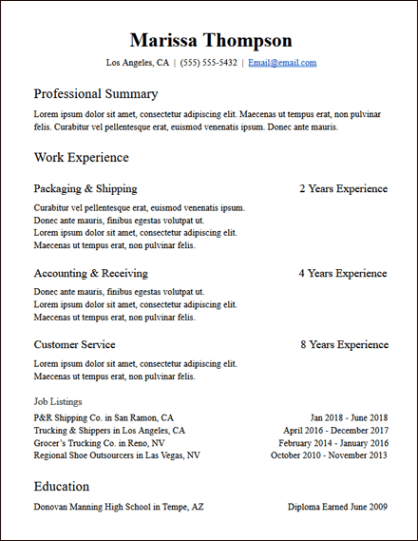 Experience Based Functional Skills Google Docs Resume