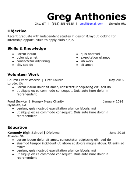 Resume For High School Student With No Work Experience Template.High School Student Skills Google Docs Resume Template