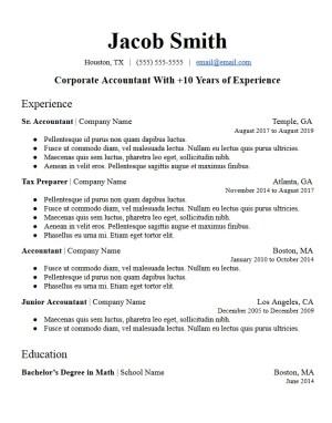 profile summary sample resume template