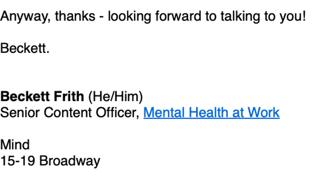 Pronouns after name in email signature