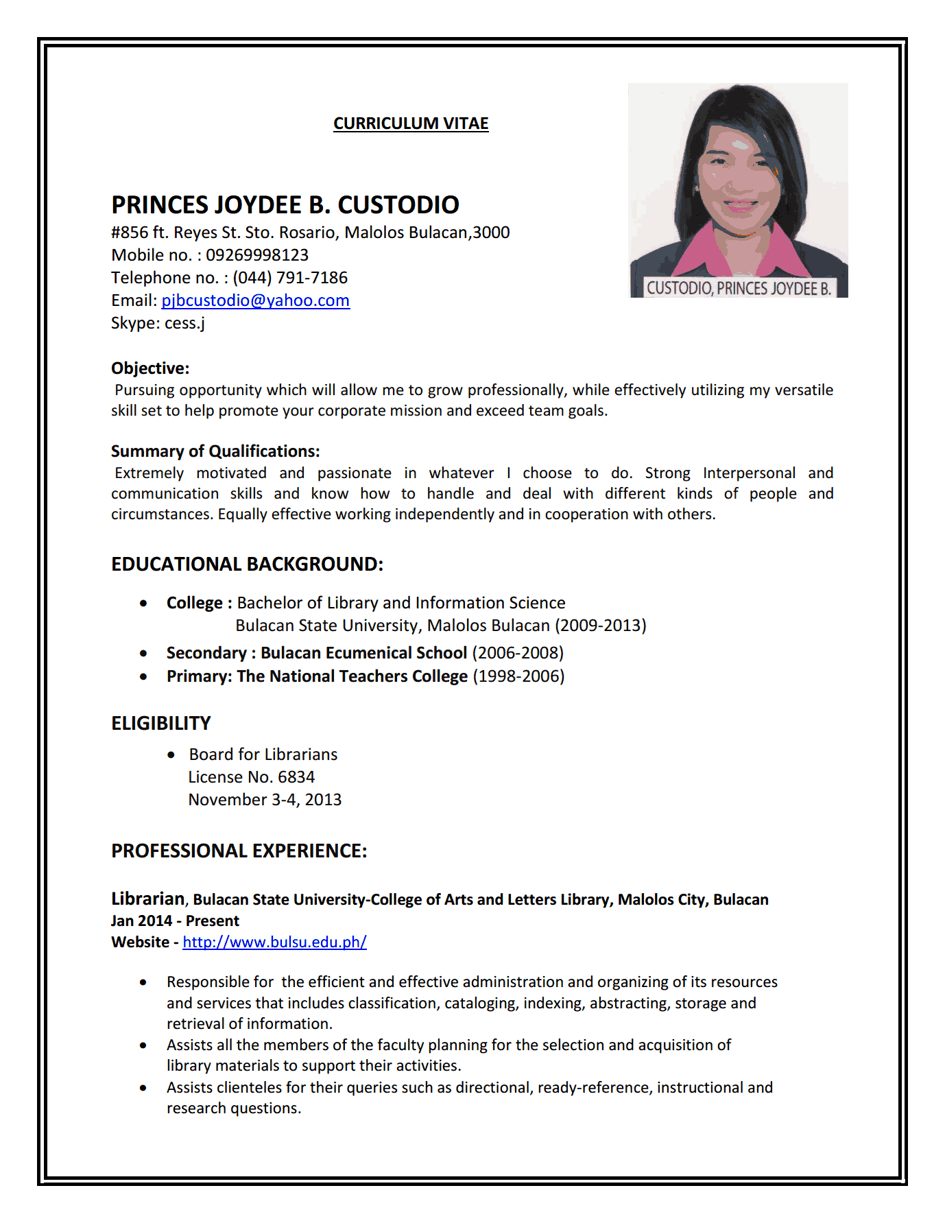 resume placement placement resume format example part time cv