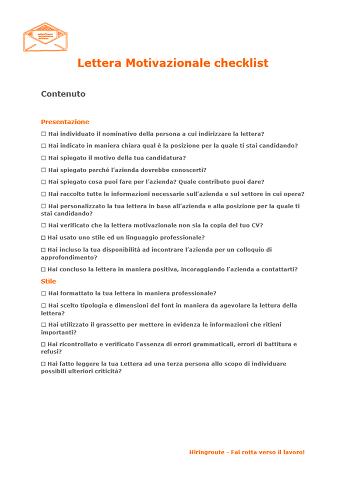 Lettera Motivazionale checklist