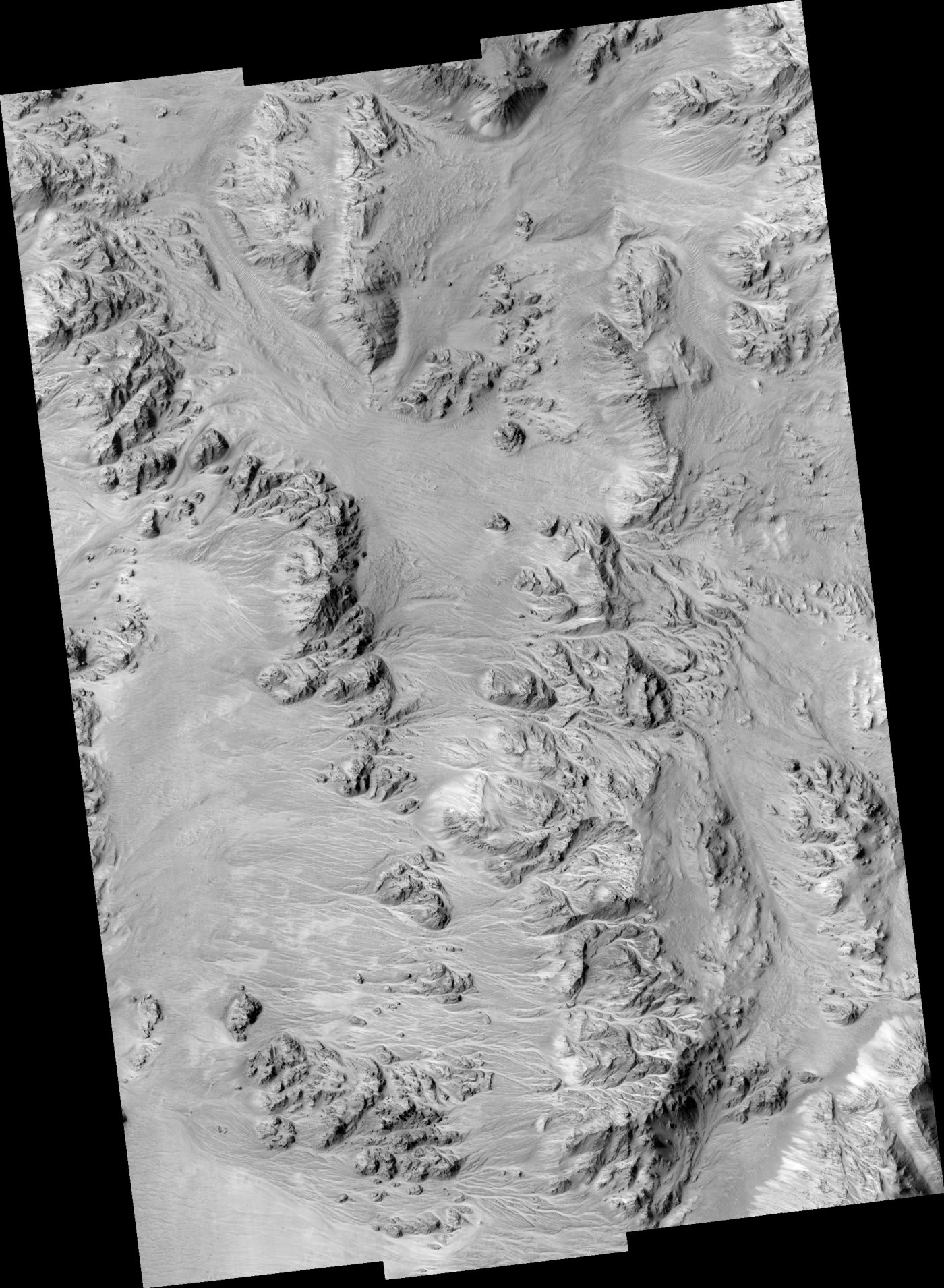 Alluvial Fans in Mojave Crater on Mars