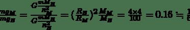 \frac{mg_{M}}{mg_{E}}=\frac{G\frac{mM_{E}}{R_{M}^{2}}}{G\frac{mM_{E}}{R_{E}^{2}}}=(\frac{R_{E}}{R_{M}})^{2}\frac{M_{M}}{M_{E}}=\frac{4\times4}{100}=0.16\fallingdotseq \frac{1}{6}