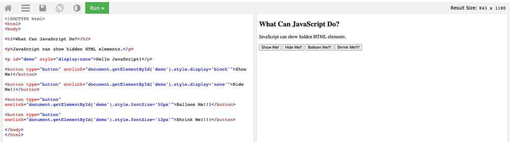 The TryIt Editor at w3schools showing my JavaScript code and the output.
