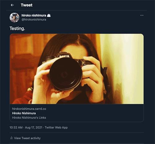 Screenshot of the original Tweet with an updated Twitter Card.