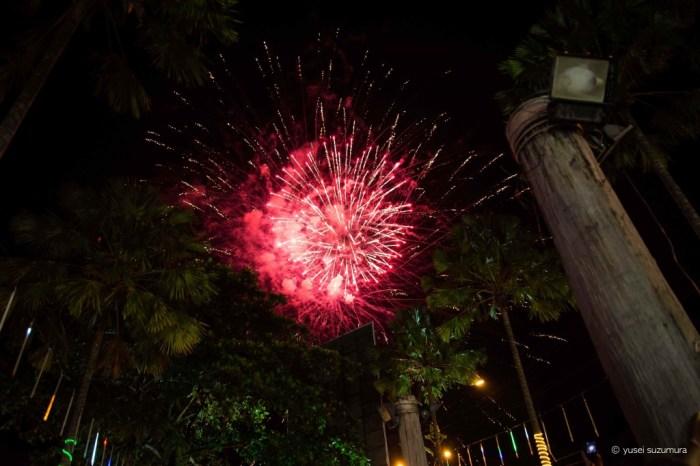 コタキナバルの新年の花火