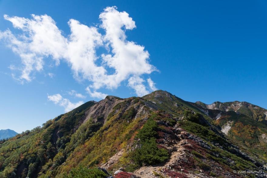 稜線 野口五郎岳