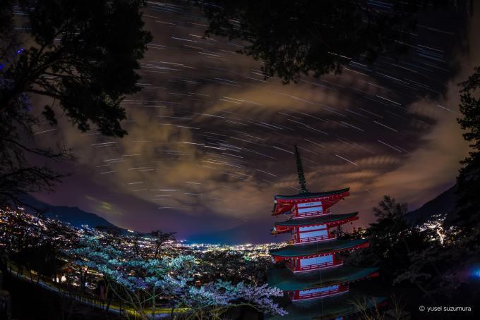 新倉山浅間公園 比較明合成 夜景