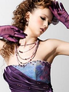 パープル×水色のダブルトーンの大人っぽいドレス