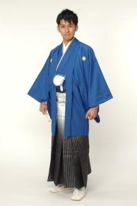 ブルー紋付袴