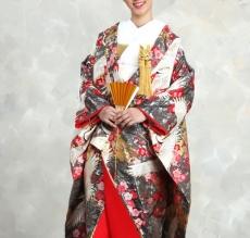 鶴と愛らしい紅梅を引き箔地に裾のゴールドが華やかさをプラス