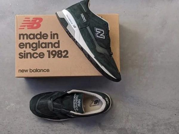 UKメイドの名品番【ニューバランスM1500・レビュー】サイズ感や履き心地を元靴屋が紹介・全体+箱画像