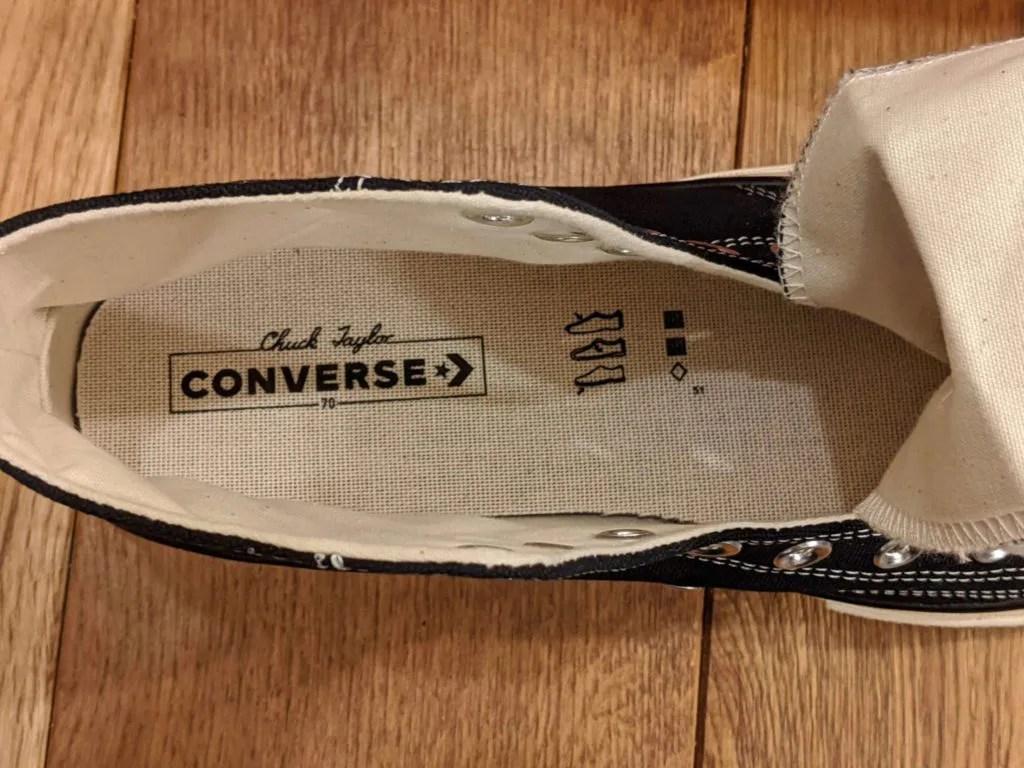 『コンバース CT70・レビュー』サイズ感や履き心地、気になる偽物について元靴屋が紹介・インソールプリント画像