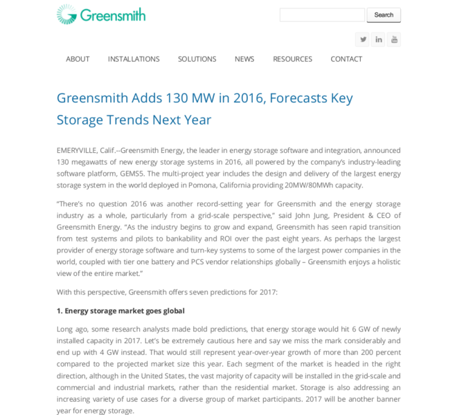 Greensmith Adds 130 MW in 2016 Forecasts Key Storage Trends Next Year _ Greensmith Energy