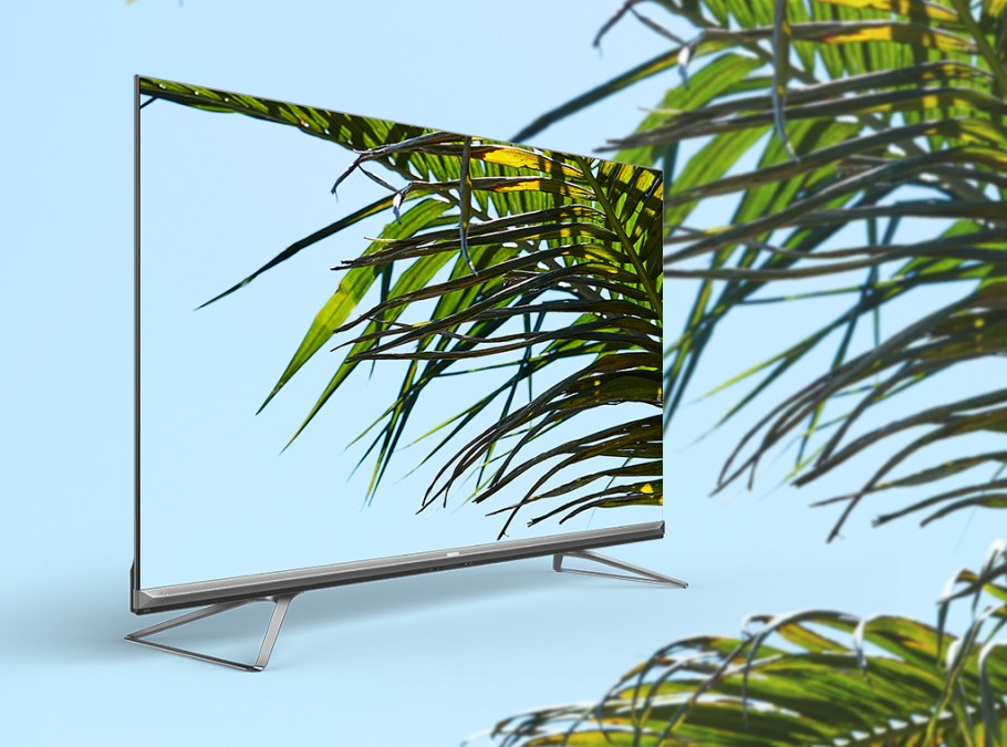 ULED 8K TV with palm tree on screen