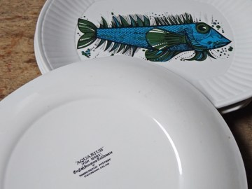 Vintage Aquarius fish series plates | H is for Home