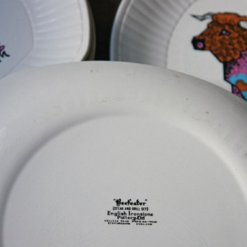 Vintage Beefeater steak plate set