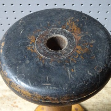 Antique black-painted wooden bobbin | H is for Home