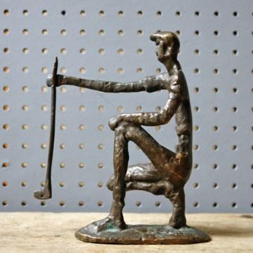 Vintage bronze golfer figure