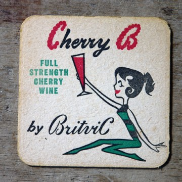 Vintage Cherry B drink mat | H is for Home