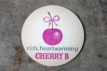 Vintage round Cherry B drink mat | H is for Home