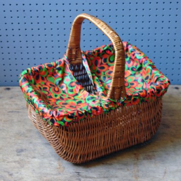 Vintage covered picnic basket