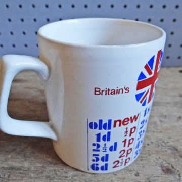 Vintage Staffordshire Potteries decimal currency mug